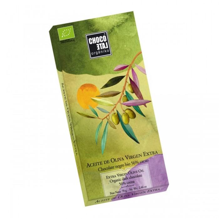 Chocolate preto orgânico 56% de cacau com azeite de oliva extra virgem