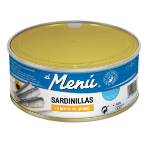 """Sardinhas em óleo de girassol """"El Menú"""" Lata 990 gr."""