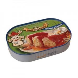"""Don Molinico Pimentos """"Piquillo"""" recheados com bacalhau e camarão 260 Gr."""